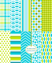 Blue Green Seamless Pattern Set. Repeating Patterns For Digital Paper, Backgrounds, Scrapbooking And More. Abstract, Plaid, Stripe, Argyle, Gingham, And Polka Dot Prints.