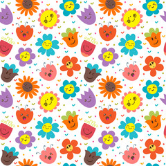 Seamless pattern with happy flowers. Cute floral background