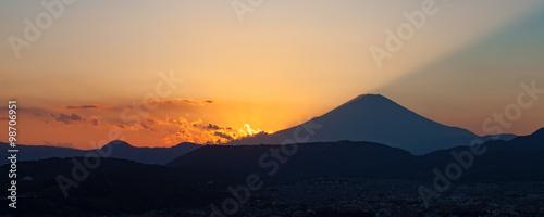 Beautiful sunset at Mountain Fuji in autumn season