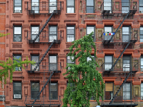 Manhattan Upper East Side Apartment Building With Steel Fire Escape Ladders