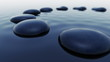 Animation of dark smooth pebbles outstanding over the water level. Loopable. HD