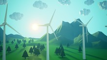 Ecologic Concept. Rural Landscape With Wind Turbines. Sheep Herd On The Meadow.
