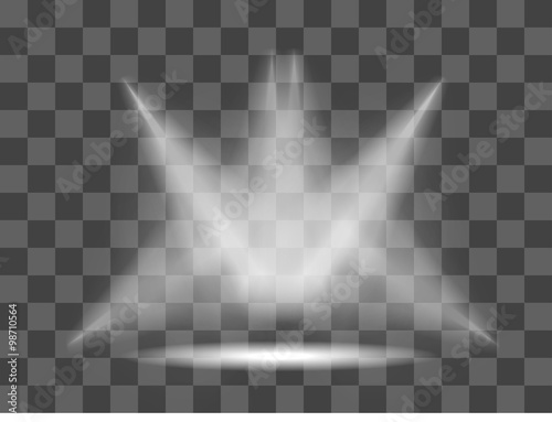 Fotografie, Obraz  Realistic white gray glowing spotlights on transparent laid background