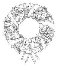Christmas Wreath. Doodle Winter Circle Pattern.