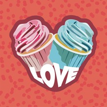 Two Colorful Cupcakes. Postcard For Valentines Day. Vector Illustration