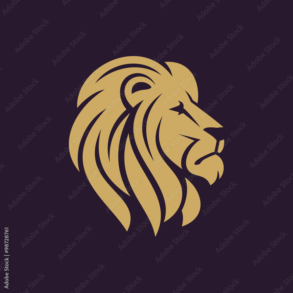 Fototapeta Lion head logo or icon in one color. Stock vector illustration.