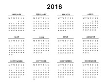 Calendar For 2016 On White Bac...