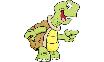 Cartoon illustration of a happy turtle pointing.
