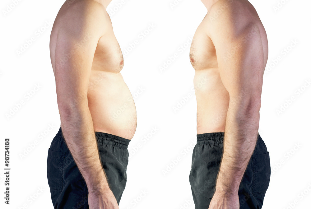 Fototapety, obrazy: body of man between fat and thin