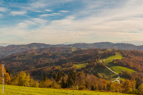 Rolling hills of Slovenia, view from Jance village towards Prezganje.