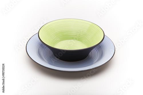 Piatti Colorati Verde E Turchese Su Sfondo Bianco Buy This Stock