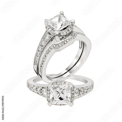 Diamond white gold ring.Isolated on white background - 98749513