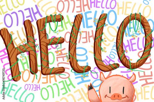 Fotografie, Obraz  Illustration for Children: Hello! Realistic Fantastic Cartoon Style Artwork / St