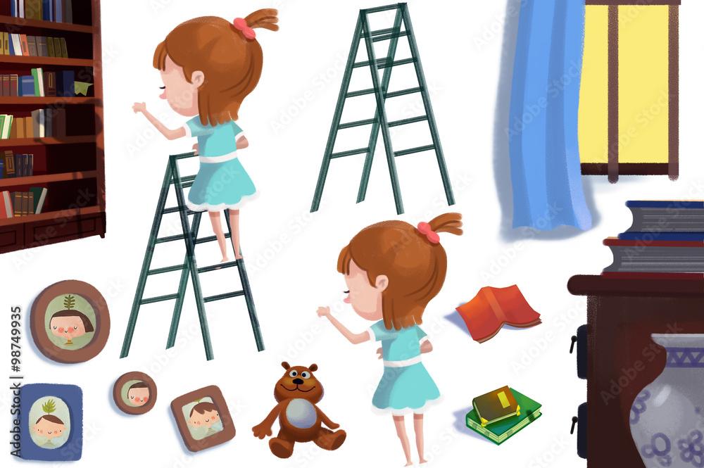 Láminas Clip Art Set: Los objetos de biblioteca: La muchacha en la ...