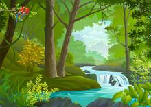 A Stream Flowing Through A Dense Green Forest