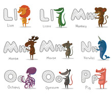 Vector Alphabet Animals, Letters L-P. Cartoon Image Of Letters Of The Alphabet L To P With Animals: Lion, Lizard, Monkey, Moose, Mouse, Narwhal, Octopus, Opossum And Pig On A Light Background.