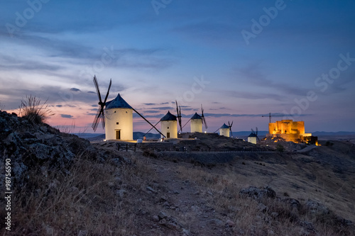 Fototapety, obrazy: Windmills at the night in Consuegra town in Spain