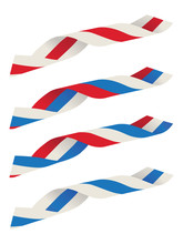 Abstract Blue White Red Ribbon...