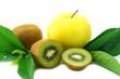 kiwi fruit and yellow apple isolated on white background