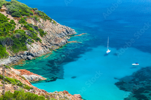 Photo Stands Blue jeans Coastal summer landscape of South Corsica