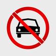 No Car or No Parking prohibition sign