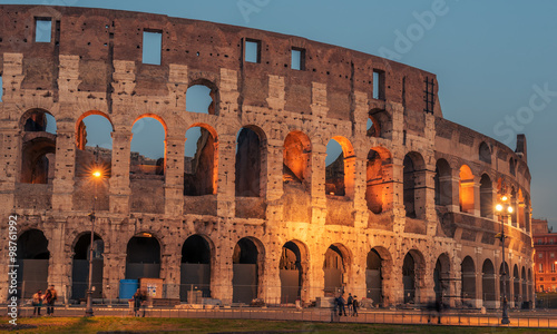 Fényképezés  Rome, Italy: Colosseum, Flavian Amphitheatre, in the sunset
