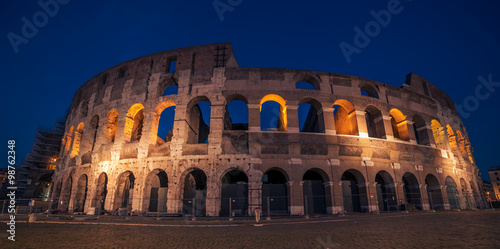 Fotografia, Obraz  Rome, Italy: Colosseum, Flavian Amphitheatre, in the sunset