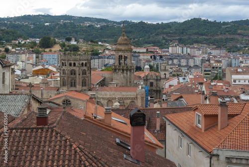 Aerial view of Ourense city in Galicia (Spain)