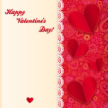 Valentine's Day Vector Lacy Card With Paper Hearts