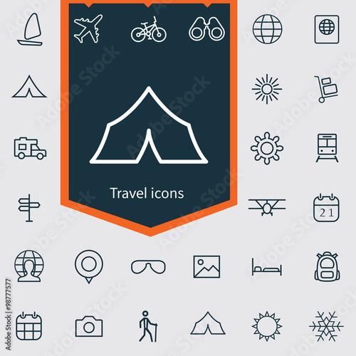 Fototapeta travel outline, thin, flat, digital icon set obraz na płótnie