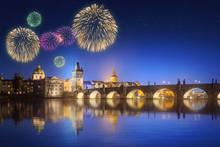Charles Bridge And Beautiful Fireworks In Prague At Night