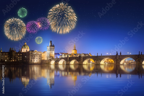 Foto op Plexiglas Praag Charles Bridge and beautiful fireworks in Prague at night