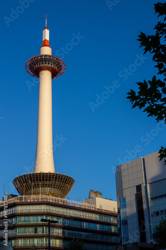 Poster Kyoto Kyoto Tower on blue sky background