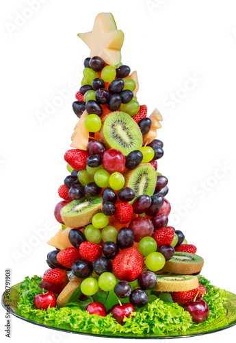 Stampe  christmas tree made from fruit Berry on white back ground