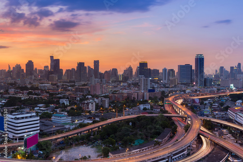 Tuinposter Bangkok Skyline of city road interchanged and downtown background during sunset