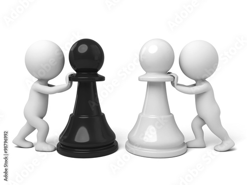 3d people with a piece. 3d image. Isolated white background.