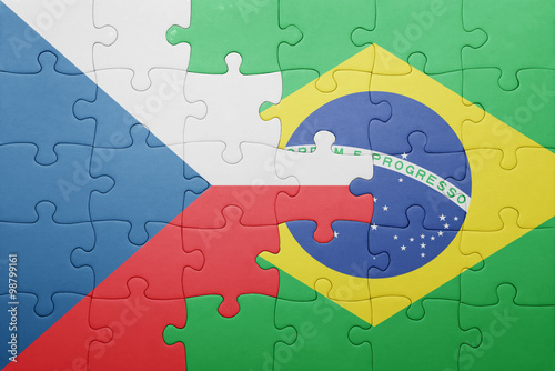puzzle with the national flag of czech republic and brazil Poster