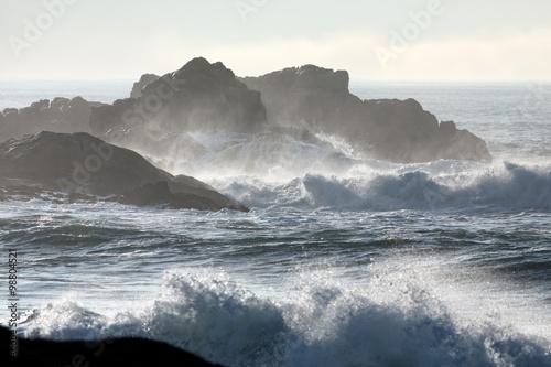 Stickers pour portes Eau Dangerous cliff in a stormy day