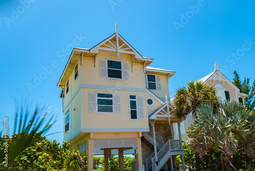 blue sky with typical beach house in florida keys usa buy this rh stock adobe com