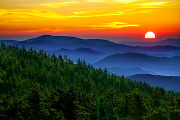 Obraz na Szkle Las Smoky mountain sunset