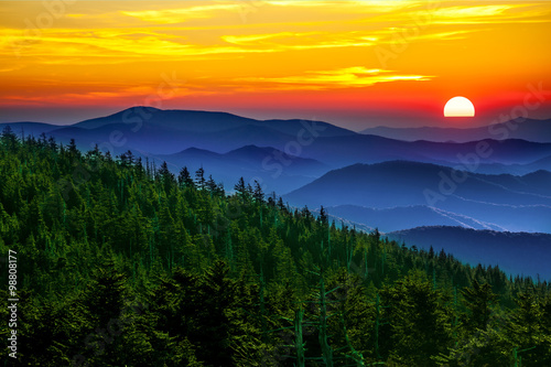 obraz dibond Smoky mountain sunset