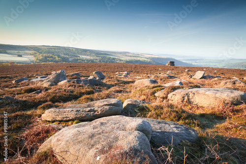 Poster Cappuccino Gritstone Rocks on the Top of Hill in Peak Districts Heatherland