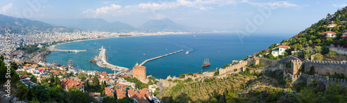 Panoramic view of sea port of Alanya Canvas Print