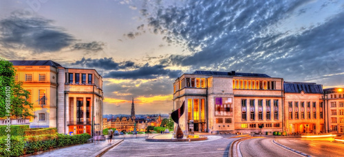 Foto op Canvas Brussel Coudenberg hill in Brussels in the evening - Belgium