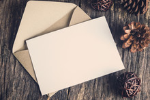 Blank White Paper Card With Brown Envelop