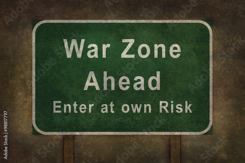 War Zone Enter at  own Risk roadside sign illustration Canvas Print