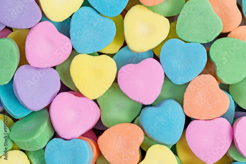 Fotografie, Obraz  Happy Valentines day with colorful heart shaped candies