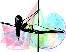 Pole Dance Woman Illustration