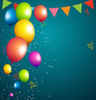 balloons party color full on blue background