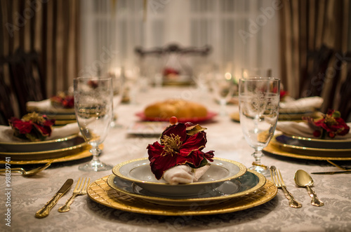 Luxury Dining Room Table Setting Poster